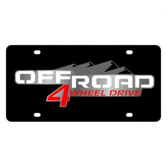 Eurosport Daytona® - GM Black License Plate with Silver Off Road Logo