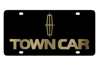 Eurosport Daytona® 3706-2 - Ford Motor Company Black License Plate with Gold Town Car Logo