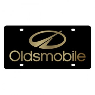 Eurosport Daytona® - GM Black License Plate with Gold Oldsmobile Aurora Logo
