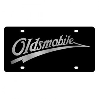 Eurosport Daytona® - GM Black License Plate with Silver Oldsmobile Retro Logo