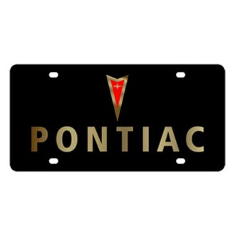Eurosport Daytona® - GM Black License Plate with Gold Pontiac Logo & Word