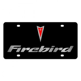 Eurosport Daytona® - GM Black License Plate with Silver Firebird Logo & Word