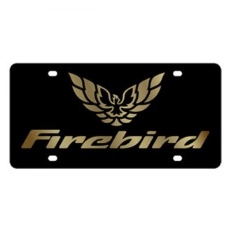 Eurosport Daytona® - GM Black License Plate with Gold Firebird Logo & Word