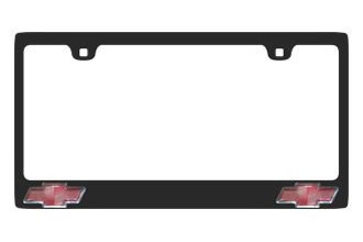 Eurosport Daytona® 5301-2LO-B - GM Carbon Black License Plate Frame with Chevrolet Bowtie Logo