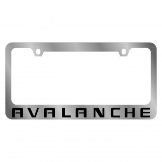 Eurosport Daytona® - GM Polished License Plate Frame with Black Chevrolet Avalanche Logo
