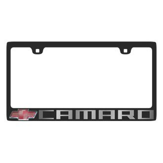 Eurosport Daytona® - GM Black License Plate Frame with Camaro Logo and Red Chevrolet Emblem