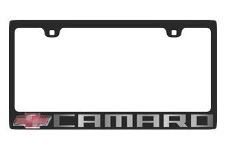 Eurosport Daytona® 5305N-2LW-UC - GM Carbon Black License Plate Frame with Camaro Logo