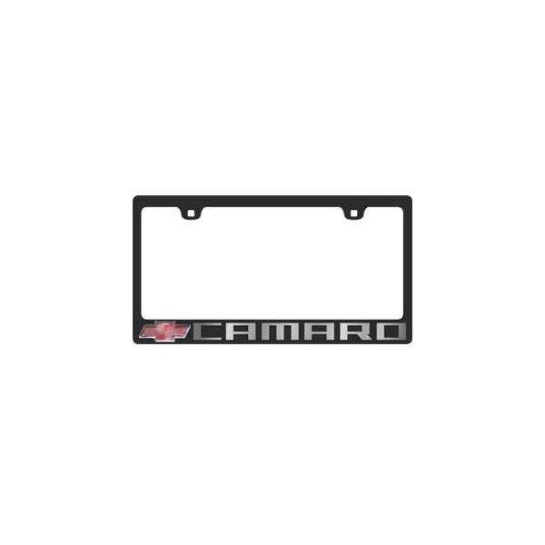 Eurosport Daytona® - GM 2-Hole Black License Plate Frame with Camaro ...