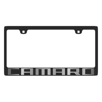 Eurosport Daytona® - GM Carbon Black License Plate Frame with Silver Camaro Logo