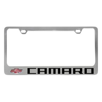 Eurosport Daytona® - GM Polished License Plate Frame with Black Camaro Logo and Red Chevrolet Emblem
