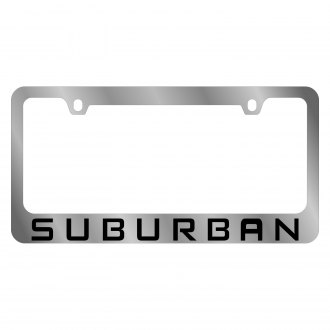 Eurosport Daytona® - GM Polished License Plate Frame with Black Chevrolet Suburban Logo