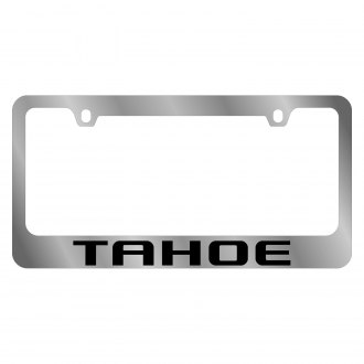 Eurosport Daytona® - GM Polished License Plate Frame with Black Chevrolet Tahoe Logo