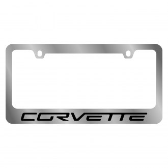 Eurosport Daytona® - GM Polished License Plate Frame with Chevrolet Corvette C6 Logo