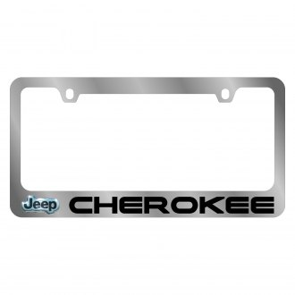Eurosport Daytona® - MOPAR Chrome License Plate Frame with Cherokee Logo and Jeep Emblem
