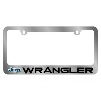 Eurosport Daytona® - MOPAR Chrome License Plate Frame with Wrangler Logo and Jeep Emblem