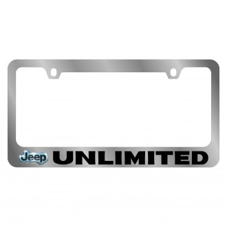 Eurosport Daytona® - MOPAR Chrome License Plate Frame with Unlimited Logo and Jeep Emblem