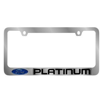 Eurosport Daytona® - Ford Motor Company Chrome License Plate Frame with Platinum Logo and Ford Emblem