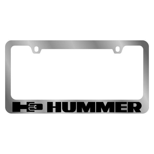 Eurosport Daytona GM 2-Hole Polished License Plate Frame w Black Hummer Logo