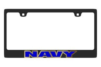 Eurosport Daytona® - MILITARY Carbon Black License Plate Frame with Navy Logo