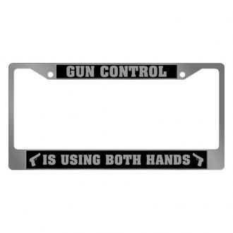 Eurosport Daytona® - Chrome License Plate Frame with Gun Control Is Using Both Hands Logo