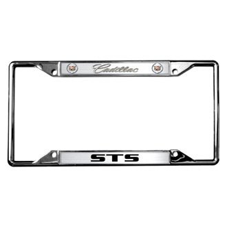 Eurosport Daytona® - GM Chrome License Plate Frame with Style 2 Cadillac STS Logo and Dual Emblems