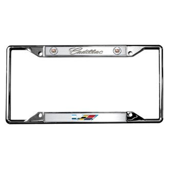 Eurosport Daytona® - GM Chrome License Plate Frame with Cadillac V-Series Logo and Dual Emblems