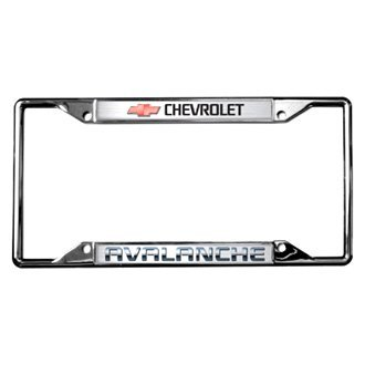 Eurosport Daytona® - GM Polished License Plate Frame with Style 2 Chevrolet Avalanche Logo and Emblem