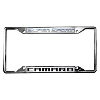 Eurosport Daytona® - GM Chrome License Plate Frame with Super Sport Camaro Logo