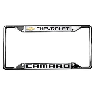Eurosport Daytona® - GM Polished License Plate Frame with Style 1 Chevrolet Camaro Logo and Gold Emblem