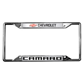 Eurosport Daytona® - GM Chrome License Plate Frame with Style 2 Chevrolet Camaro Logo and Red Emblem