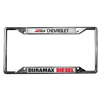 Eurosport Daytona® - GM 4-Hole Polished License Plate Frame with Chevrolet Duramax Z71 Logo