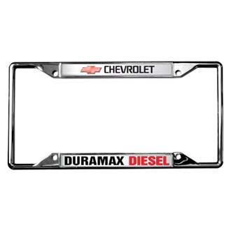 Eurosport Daytona® - GM Chrome License Plate Frame with Chevrolet Duramax Diesel Logo and Red Emblem