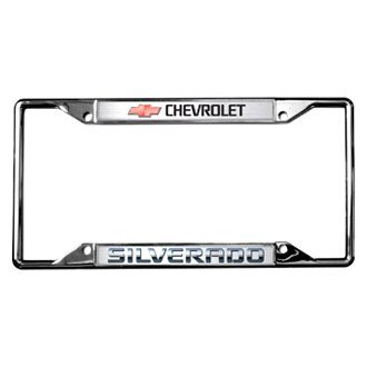 Eurosport Daytona® - GM Polished License Plate Frame with Style 1 Chevrolet Silverado Logo and Red Emblem