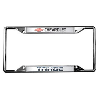 Eurosport Daytona® - GM Polished License Plate Frame with Style 1 Chevrolet Tahoe Logo and Red Emblem