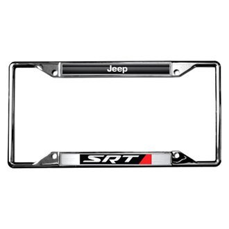 Eurosport Daytona® - MOPAR 4-Hole Chrome License Plate Frame with Style 1 Jeep SRT Logo
