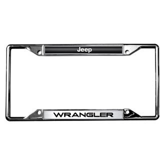 Eurosport Daytona® - MOPAR Chrome License Plate Frame with Style 2 Jeep Wrangler Logo