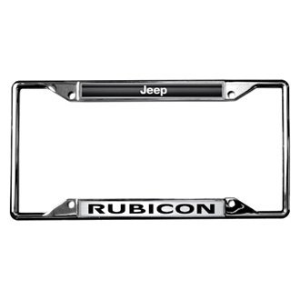 Eurosport Daytona® - MOPAR Chrome License Plate Frame with Style 2 Jeep Rubicon Logo