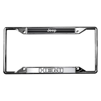 Eurosport Daytona® - MOPAR Chrome License Plate Frame with Style 2 Jeep HEMI Logo