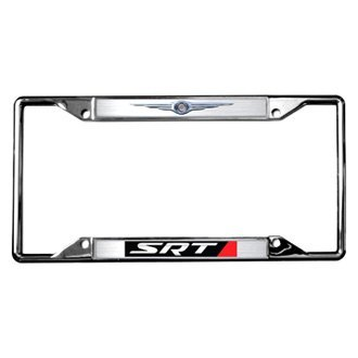 Eurosport Daytona® - MOPAR 4-Hole Chrome License Plate Frame with Style 2 SRT Logo and Chrysler Emblem
