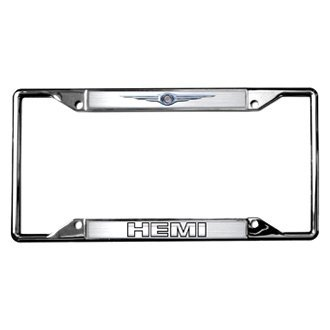 Eurosport Daytona® - MOPAR Polished License Plate Frame with Style 2 HEMI Logo and Chrysler Emblem