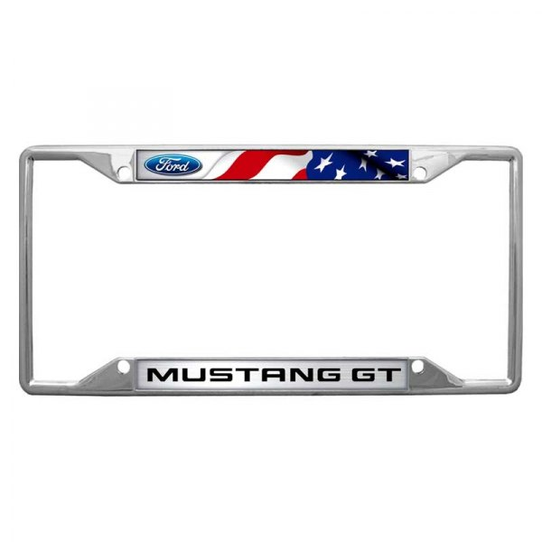 mustang ford logo car auto chrome metal license plate frame made in usa