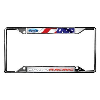 Eurosport Daytona® - Ford Motor Company Chrome License Plate Frame with Style 2 Ford Racing Logo and American Flag