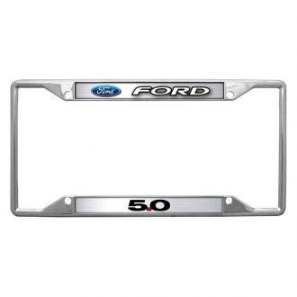 Eurosport Daytona® - Ford Motor Company 4-Hole Chrome License Plate Frame with 5.0 Logo and Ford Emblem