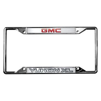Eurosport Daytona® - GM Chrome License Plate Frame with Yukon Xl New Logo and GMC Emblem