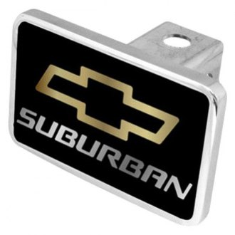 "Eurosport Daytona® - General Motors Black Premium Hitch Cover with Suburban Logo for 2"" Receivers"