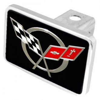 Eurosport Daytona® - General Motors Black Premium Hitch Plug with Corvette C5 Flags Logo