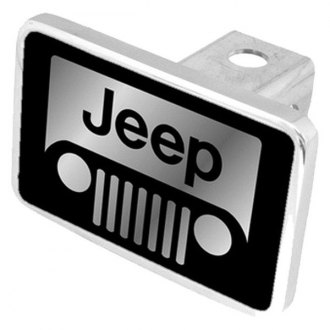 "Eurosport Daytona® - MOPAR Black Premium Hitch Cover with Jeep Grill Logo for 2"" Receivers"