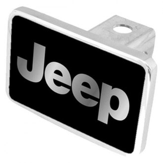 "Eurosport Daytona® - MOPAR Black Premium Hitch Cover with Jeep Silver Logo for 2"" Receivers"