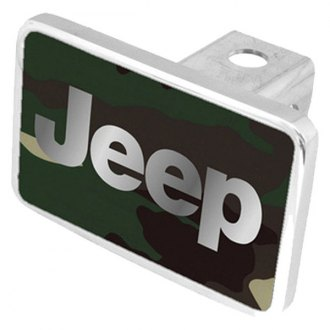 Eurosport Daytona® - MOPAR Green Camouflage Premium Hitch Plug with Jeep Logo