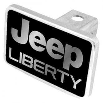 Eurosport Daytona® - MOPAR Black Premium Hitch Plug with Jeep Liberty Silver Logo